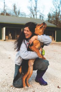 Shelter manager and founder of POPS, Stephanie Smith, works with animals while at the White County Animal Shelter.