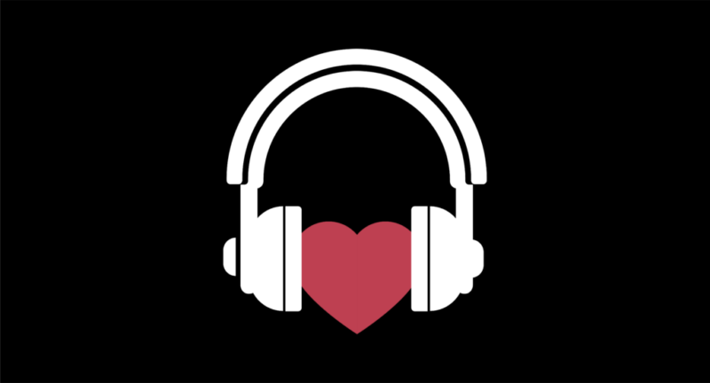 illustration of headphones with a heart between the earcups