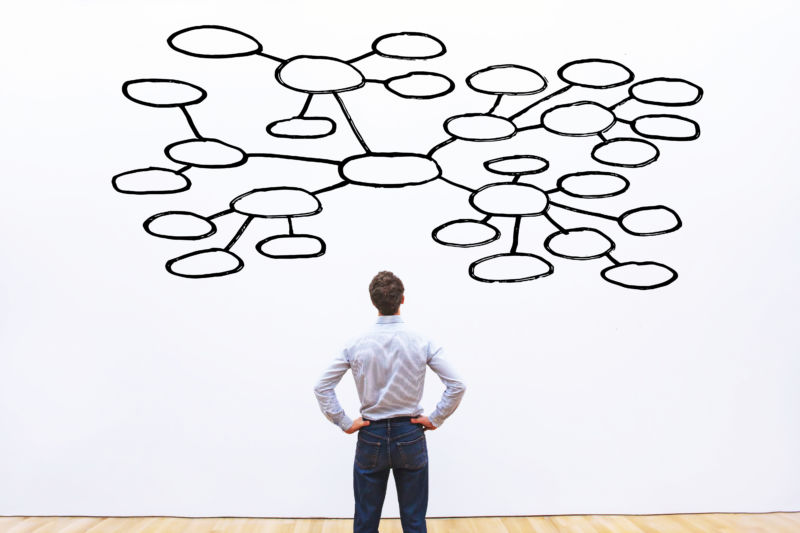 man standing in front of large mind map illustration with blank circles