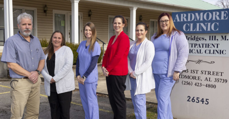 Dr. Claude Bridges, left, receptionist Brandi Harvey, registered nurse Courtney Quillin, receptionist Laura Postoak, phlebotomist and medical assistant Heather Barnes and office manager/medical assistant Hillary Williams.